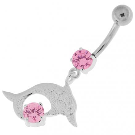 Big Jeweled Jumping Dolphin Navel Belly Button Ring