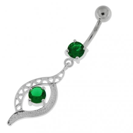 Jeweled Eye Navel Belly Button Ring