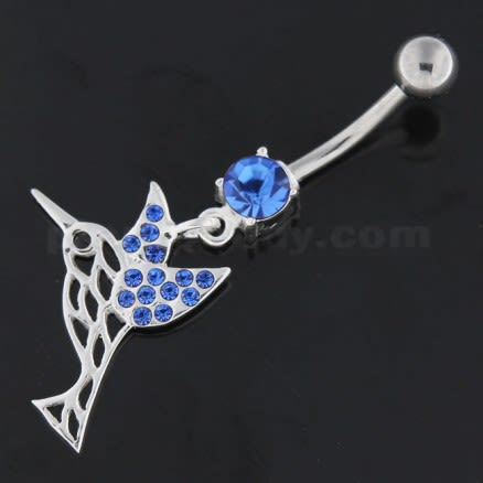 Flying Jeweled Sparrow Cut out Navel Belly Button Ring