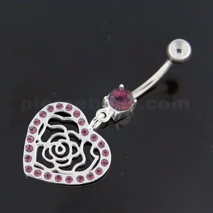 Dangling Rose Cut out Heart Belly Button Bar