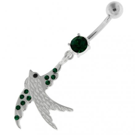 Dangling Jeweled Sparrow Belly Button Bar