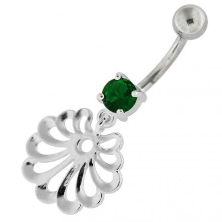 Fancy Jeweled Dangling Single Stone Belly Ring