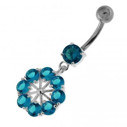 Round Jeweled Flower Sterling Silver Navel Ring