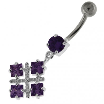 Four Square Jeweled Sterling Silver Navel Bar
