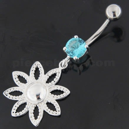 925 Sterling Silver Dotted Flower Belly Button Ring