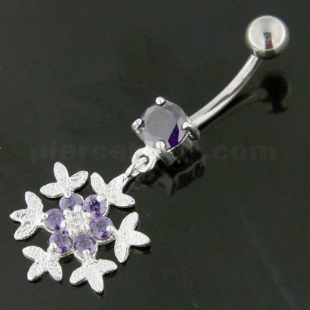 925 Sterling Silver Flower Snow Flake Belly Button Ring