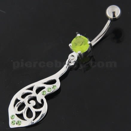 925 Sterling Silver Fancy Jeweled Belly Button Ring