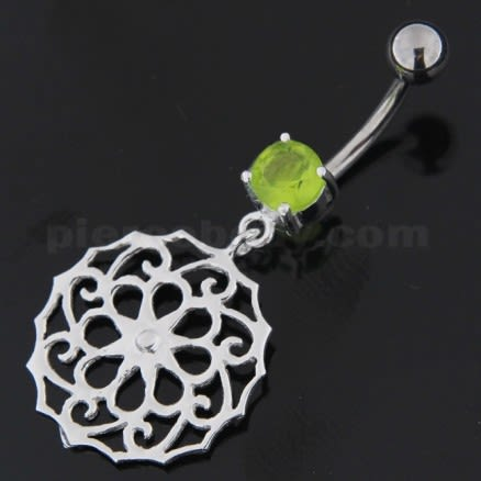Flower Of Life Pattern 925 Sterling Silver Navel Belly Piercing