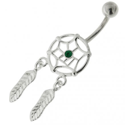 Center Jeweled Dream Catcher Sterling Silver Belly Button Ring