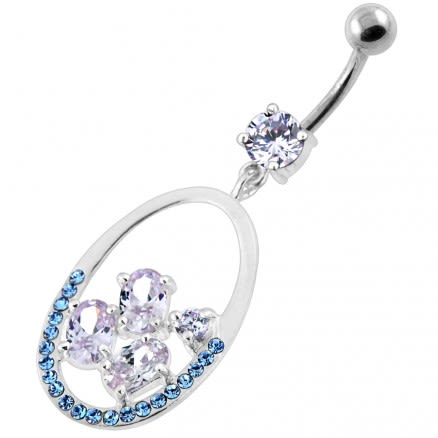 925 Sterling Silver Jeweled Oval Cut out Belly Ring