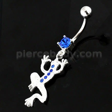Jeweled Lizard with Frog Legs 925 Sterling Silver Navel Belly Piercing