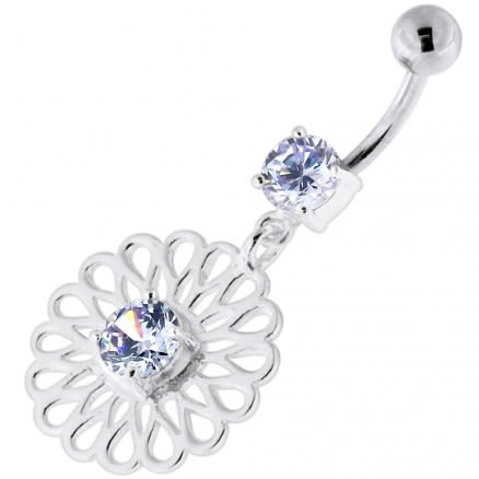 Center Jeweled Fancy Flower Pattern Navel Belly Piercing