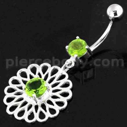Center Jeweled Fancy Flower Pattern Navel Belly Piercing