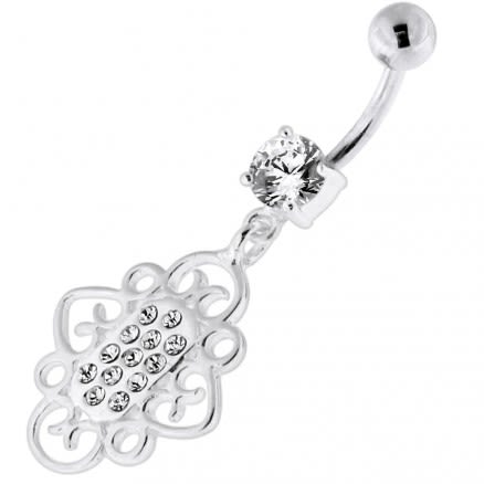 Multi Jeweled Heart Cut out Navel Belly Piercing