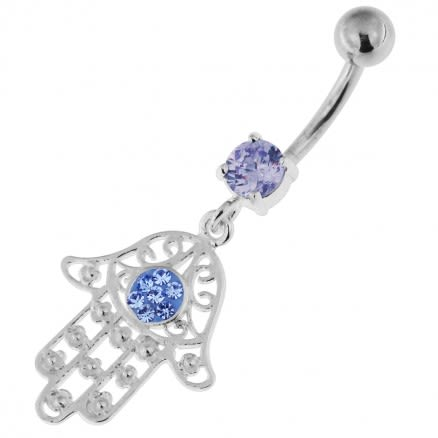 925 Sterling Silver Floral Fathima Hand Navel Belly Bar