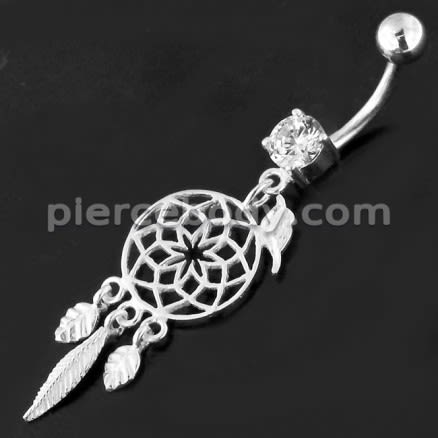Flower Cut Out With Bird Jewel 925 Sterling Silver Belly Ring