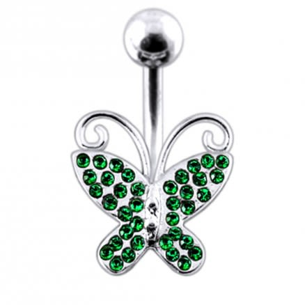 Butterfly shapped Jeweled Non-Moving Belly Ring