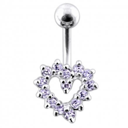 Jeweled Cut Out Heart Non-Moving Belly Ring