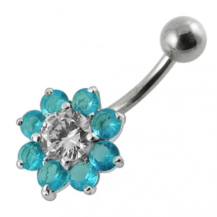 Jeweled Sterling silver Flower Non-Moving Belly Ring