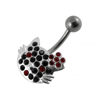 Multi Jeweled Kitty Non-Moving Belly Ring