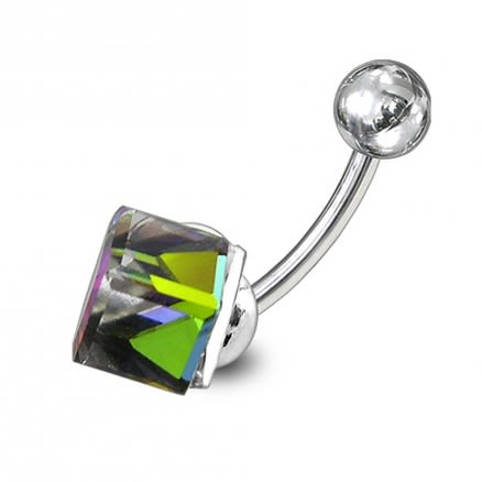 Cube Jeweled  Non-Moving Belly Ring