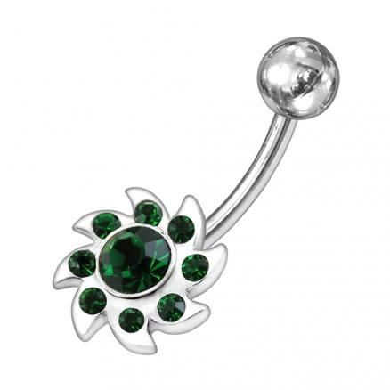 Jeweled Swirled Sun  Non-Moving Belly Ring