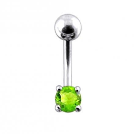14 Gauge Fancy Jewelled Non-Moving Curved Bar Navel Ring