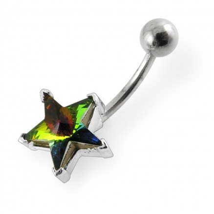 Jewelled Star Non-Moving Belly Ring