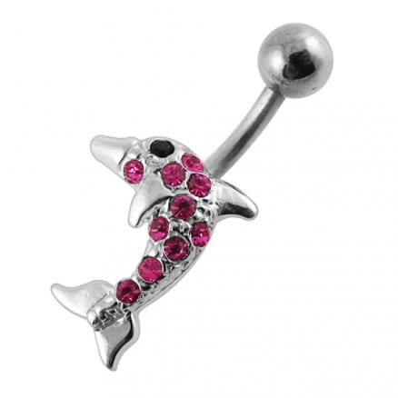 Jeweled Dolphin Belly Ring Body Jewelry