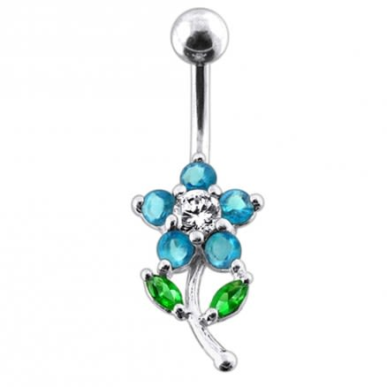 Flower with leaves Navel Belly Bar