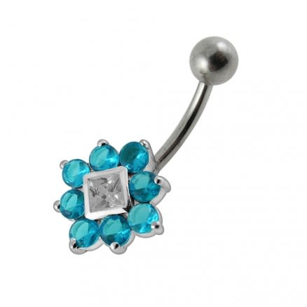 Fancy Traditional Flower Jeweled SS Bar Navel Ring Body Jewelry