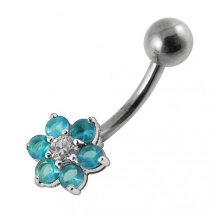 Jeweled Flower Belly Body Jewelry