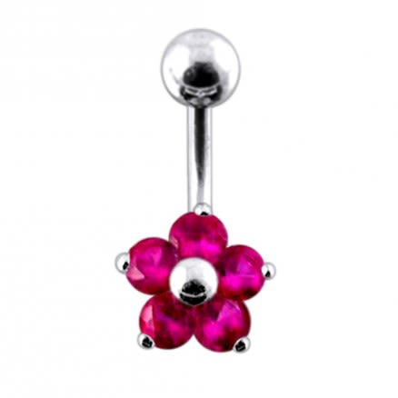 Jeweled Flower Navel Ring PBN0174