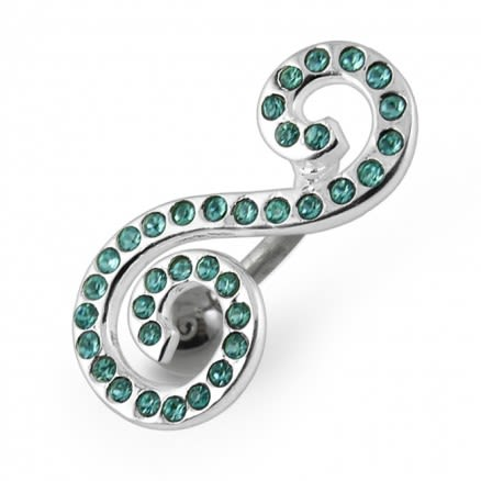 Elegant Designed Jeweled Navel Ring