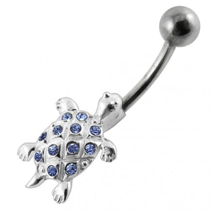 Jeweled Tortoise Design Navel Ring