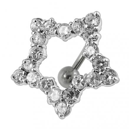 Jeweled Star Design Navel Ring