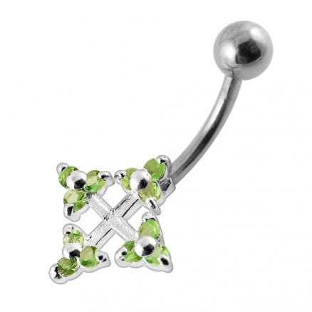 Fancy Gem Paved Pink Bow CZ Navel Belly Button Ring