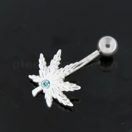 Silver Fancy Pot Flower Jeweled SS Banana Navel Ring