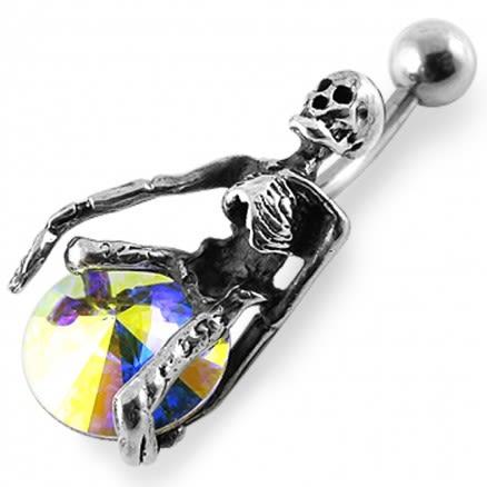 Jeweled Fancy Skeleton Banana Bar  Navel Ring