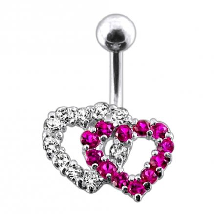 Multi gems Double Heart Navel Ring