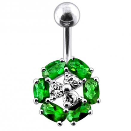 Fancy Multi Stone Round SS Bar Navel Body Ring