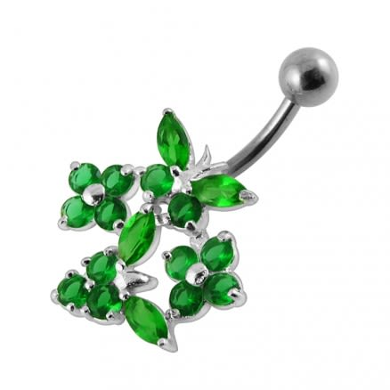 Jeweled Flowers Navel Ring