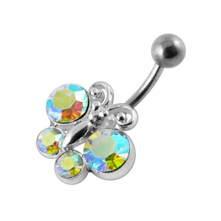 Jeweled Butterfly Belly Button Jewelry