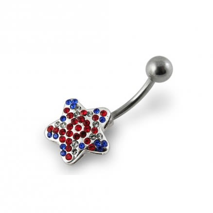 Jeweled Star Navel Bar