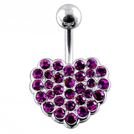Jeweled Heart Navel Body Jewelry