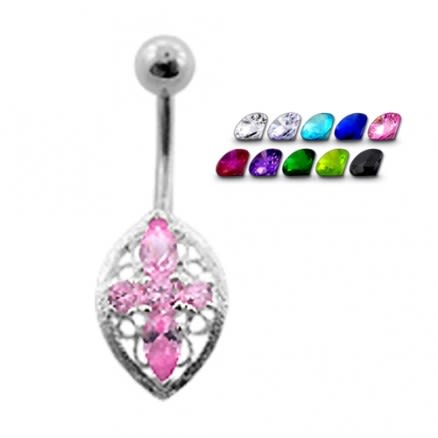 Fancy Cross with Jeweled SS Banana Bar Navel Ring