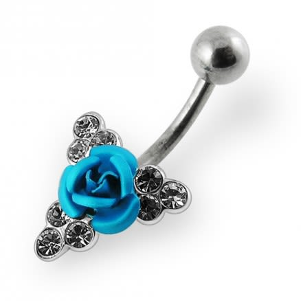 Jeweled Coloured Rose Belly Ring
