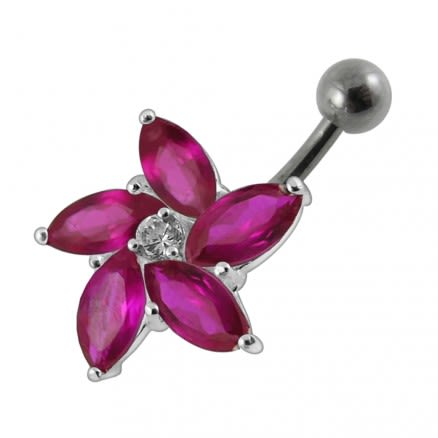 Jeweled Silver Flower With SS Curved bar Banana Belly Button Navel Ring PBN0579