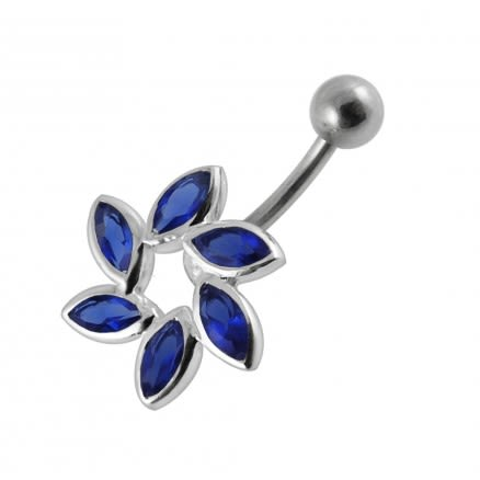 Green Gems Stone Flower SS Bamana Bar Belly Ring