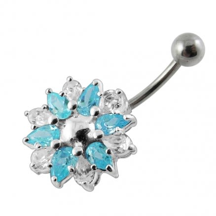 Blue Gems Stone Flower Surgical Steel Curved Bar Belly Ring